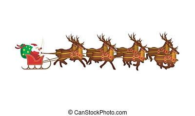 reindeers, galoping, claus, kerstman