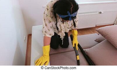 reinigingsmachine, vacuüm, vrouw, poetsen, bankstel