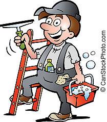 reinigingsmachine, venster, illustratie