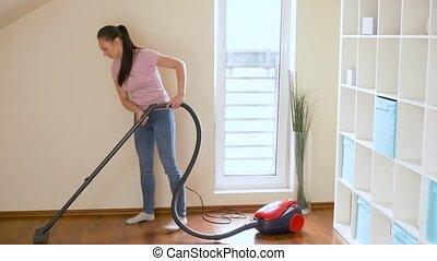 reinigingsmachine, vrouw, huisvrouw, vacuüm, thuis, of