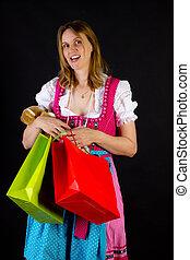 reis, vrouw winkelen, dirndljurk