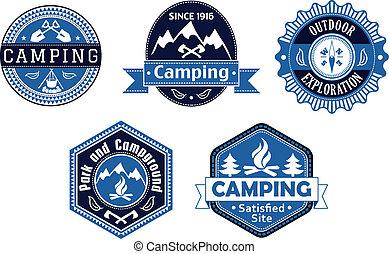 reizen, etiketten, ontwerp, emblems, kamperen