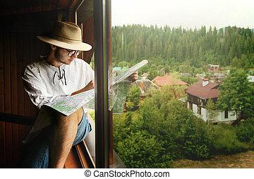 reizen, kaart, aanzicht, vasthouden, ruimte, concept, hipster, ontdekkingsreis, houten, zittende , man, tekst, venster huis, modieus, informatietechnologie, bergen