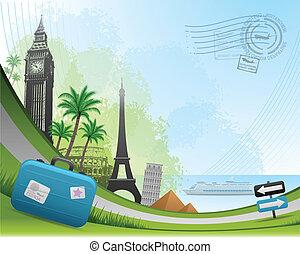 reizen, post, kaart, achtergrond
