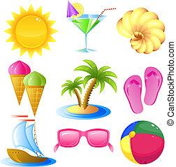 reizen, set, vakantie, pictogram