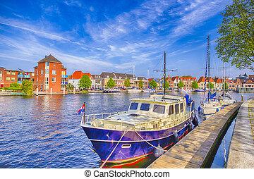 reizen, vaart, stad, het reizen, scheepje, harlem, aantrekkelijk, netherlands., concepts., pijler, europa