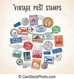 reizen, vector, ontwerp, postzegels
