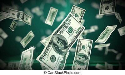 rekeningen, looped, op, dollar, vliegen, honderd