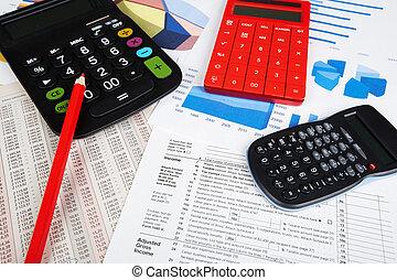 rekenmachine, objects., kantoor