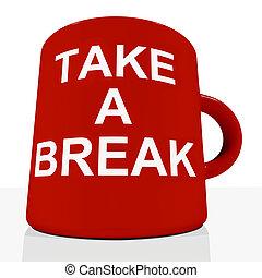 relaxen, het tonen, breken, mok, nemen, vermoeidheid
