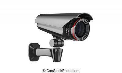 render, achtergrond., fototoestel, veiligheid, witte , 3d