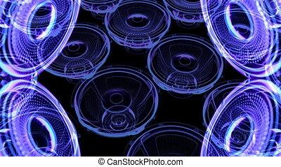 render, -, beeldmateriaal, neon, muzikalisch, motie, speakers., vj, 3d