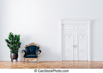 render, leder, mooi, interieur, 3d, twee, armstoelen, ouderwetse , plant
