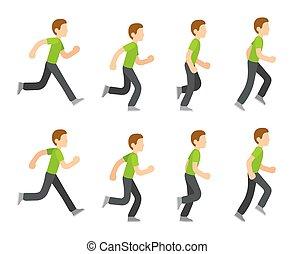 rennende , animatie, man