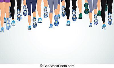 rennende , benen, groep, mensen