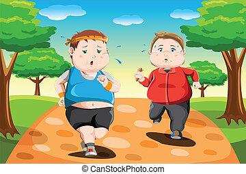 rennende , geitjes, overgewicht