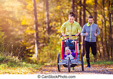 rennende , gezin, jonge
