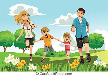 rennende , park, gezin