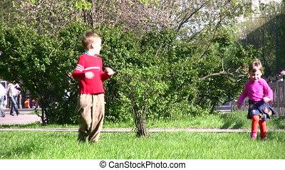 rennende , park, kinderen