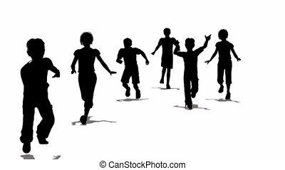 rennende , silhouette, kinderen