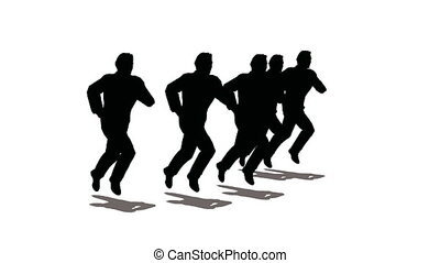 rennende , silhouette, leider, mensen