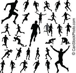 rennende , silhouettes, mensen