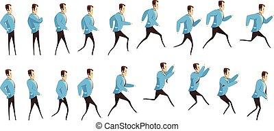 rennende , springt, animatie, man