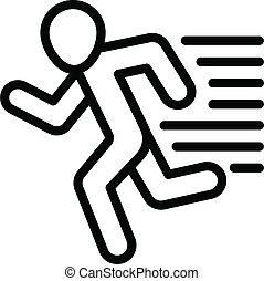 rennende , stijl, schets, pictogram, fitness