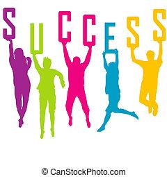 repesentatie, silhouettes, gekleurde, succes, mensen