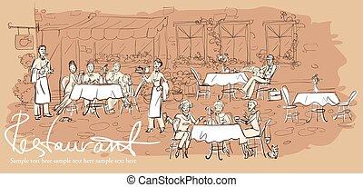 restaurant, buiten, mensen, -, hand, achtergrond, getrokken, horizontaal, koffiehuis