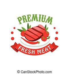 restaurant, markt, premie, vlees, fris, illustratie, verpakking, vector, koffiehuis, slager, farmer, logo, mal, badge, kleurrijke, winkel