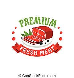 restaurant, markt, premie, vlees, fris, slager, verpakking, vector, koffiehuis, illustratie, mal, farmer, logo, badge, ontwerp, kleurrijke, winkel