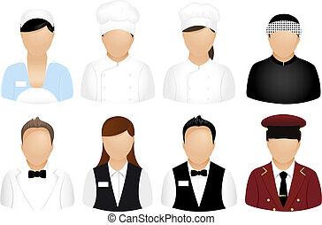 restaurant, mensen, iconen