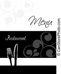 restaurant menu, -, ontwerp, mal, informatieboekje