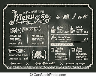 restaurant, voedingsmiddelen, menu, ontwerp, chalkboard, achtergrond