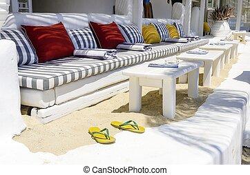 restaurant, zet op het strand staaf, mykonos