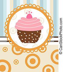 retro, achtergrond, cupcake