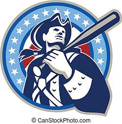 retro, amerikaans honkbal, vleermuis, patriot