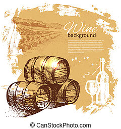 retro, gespetter, hand, wijntje, kwak, ontwerp, achtergrond., ouderwetse , illustration., getrokken