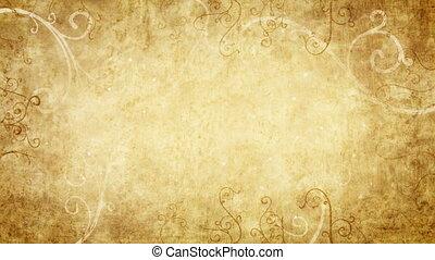 retro, lus, flourishes, gele, frame