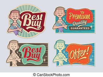 retro, ouderwetse , reclame, etiketten