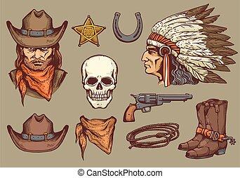 retro, spotprent, cowboy, communie, westelijk, isolated., schets, vector, illustratie