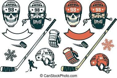 retro stijl, communie, set, hockey