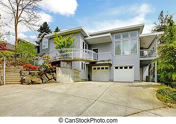 reusachtig, area., woning, moderne, grijze , groot, buitenkant, parkeren
