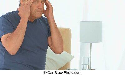 reusachtig, hebben, ziek, hoofdpijn, man