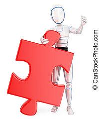 reusachtig, raadsel, humanoid, robot, piece., oplossing, 3d