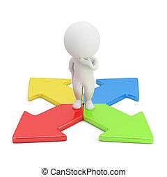 richting, mensen, -, keuze, kleine, 3d