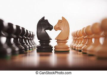 ridder, rijen, schaakspel, twee, pionen, uitdaging, centrum