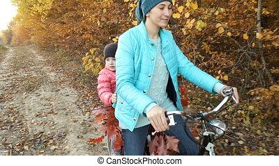 rijden, fiets, mamma, kind