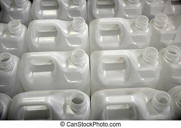 rijen, witte , flessen, fabriek, plastic